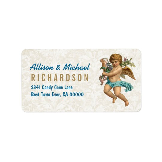 Flying Cherub Playing Harp Vintage Christmas C07 Address Label