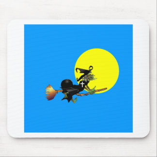 Flying Christian Witch Mouse Pad
