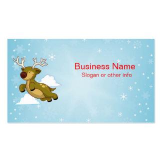 Flying Christmas Reindeer Business Card Template