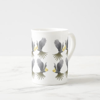 Flying Cockatiel Parrots Bone China Mug