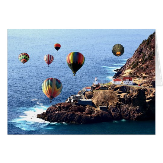 Flying Colourful Hot air Balloons over Card