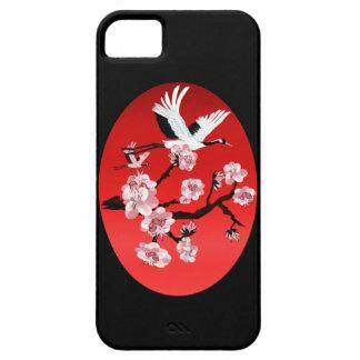 Flying Crane and Sun-(dark) iPhone 5 Case