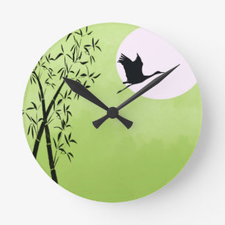 Flying crane - green wallclock