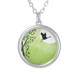 Flying crane - green round pendant necklace