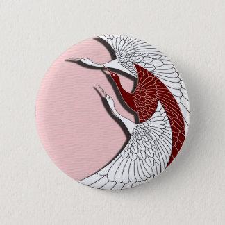 Flying cranes 6 cm round badge
