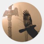 Flying Crow Spirit & Totem Pole Sacred Art Round Sticker