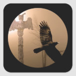 Flying Crow Spirit & Totem Pole Sacred Art Square Sticker