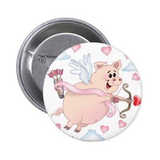 Flying Cupid Piggy Valentine's Day 6 Cm Round Badge