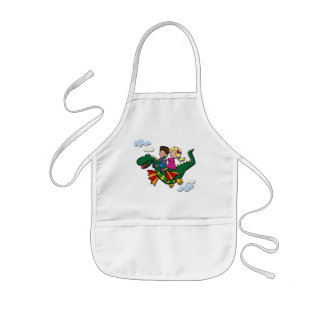 Flying Dino with Kids Kids Apron