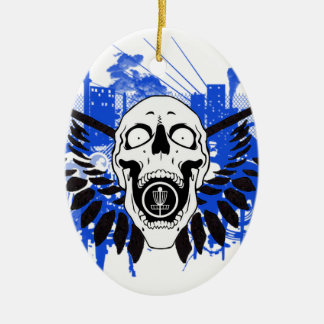 Flying Disc Golf Skull Christmas Ornament