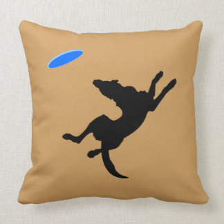 Flying Disk Dog Blue/Gold Throw Pillow