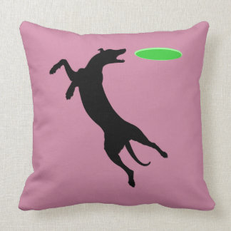 Flying Disk Dog Green/Mauve Throw Pillow
