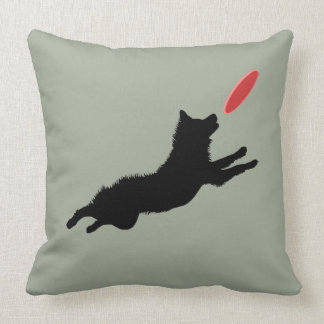 Flying Disk Dog Red/Sage Throw Pillow