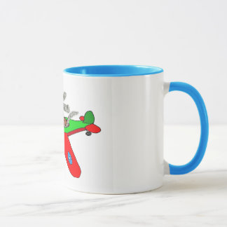 """Flying dog"" ,aeroplane Mug"
