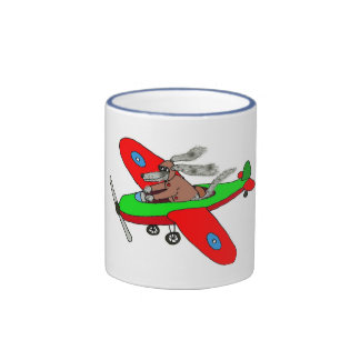 """Flying dog"" ,aeroplane Ringer Coffee Mug"