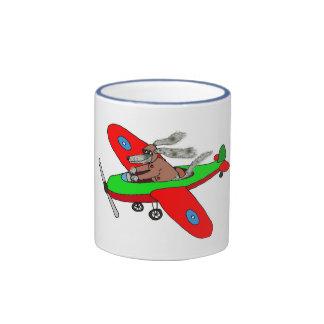 """""""Flying dog"""" ,aeroplane Ringer Mug"""