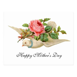 FLYING DOVE WITH PINK ROSE Mother's Day Postcards