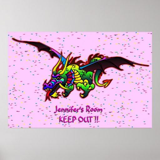 Flying Dragon bedroom door poster