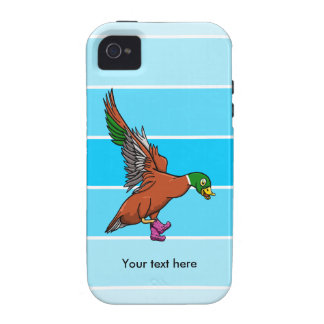 Flying Duck Wearing Spotty Boots Illustration iPhone 4 Cases