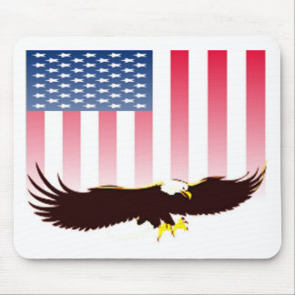 Flying Eagle And American Flag Mouse Pad