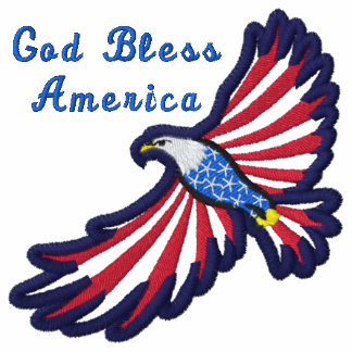 Flying Eagle God Bless America Patriotic Embroidered Shirts