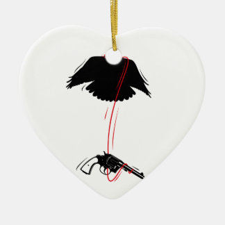 Flying Eagle Pistol Peace Ceramic Heart Decoration