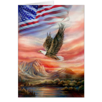 Flying Eagle with Sunset and American Flag Greeting Card