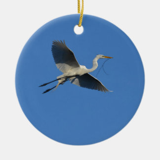 Flying Egret with Twig Round Ceramic Decoration