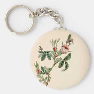Flying Elephant above rose - beautiful love messag Basic Round Button Key Ring