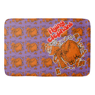 flying elephant orange halftone tiled pattern bath mats