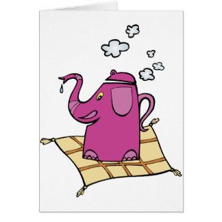 Flying Elephant Tea Kettle Greeting Cards