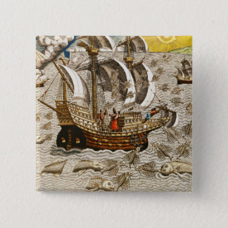 Flying Fish Meet in the Torrid Zone 15 Cm Square Badge