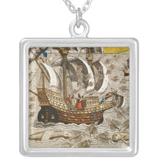 Flying Fish Meet in the Torrid Zone Silver Plated Necklace