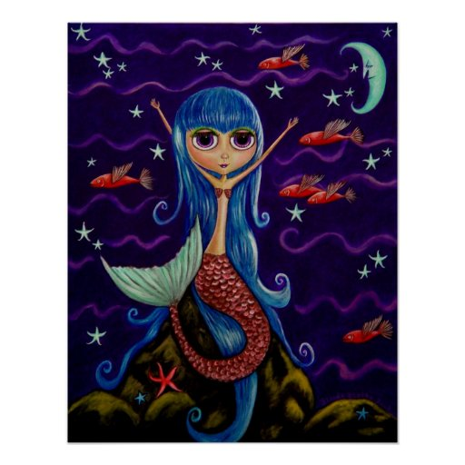 Flying Fish Mermaid Poster