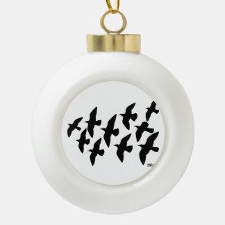 Flying Flight Pigeons Ceramic Ball Christmas Ornament