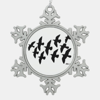 Flying Flight Pigeons Pewter Snowflake Decoration