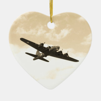 Flying Fortress In Flight Ceramic Heart Decoration