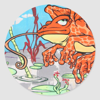Flying Frog Classic Round Sticker