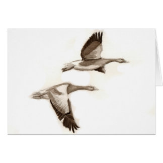 Flying geese drawing greeting card