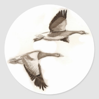Flying geese drawing round sticker