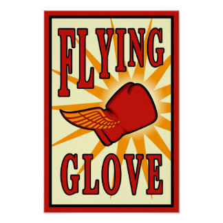 Flying Glove Vintage Boxing Poster