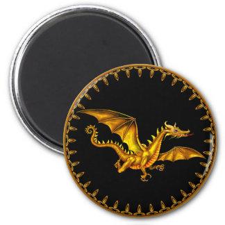 flying gold dragon on black 6 cm round magnet