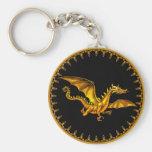 flying gold dragon on black basic round button key ring