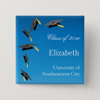 Flying Graduation Caps 15 Cm Square Badge