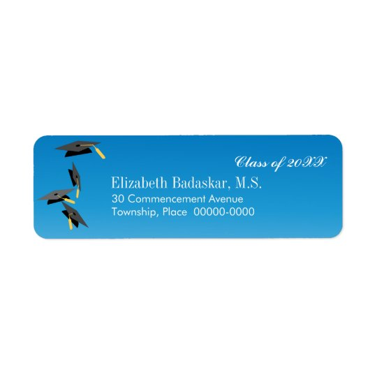 Flying Graduation Caps Return Address Return Address Label