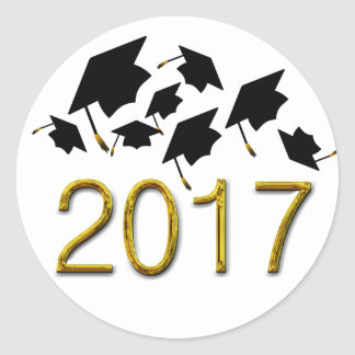 Flying Graduation Hats Class Of 2017 Stickers