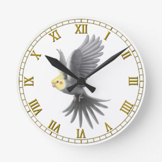 Flying Gray Cockatiel Parrot Wall Clock