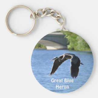 Flying Great Blue Heron Key-chains Basic Round Button Key Ring