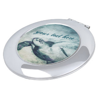 Flying Green Sea Turtle | Compact Mirror