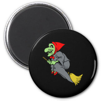 Flying Green Witch in Red Shoes 6 Cm Round Magnet